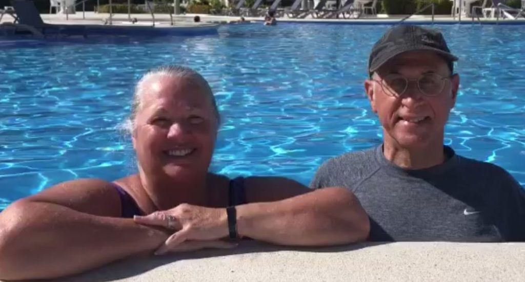 Merle and Kathy Hill members for quite some years enjoy the pool at Ventus