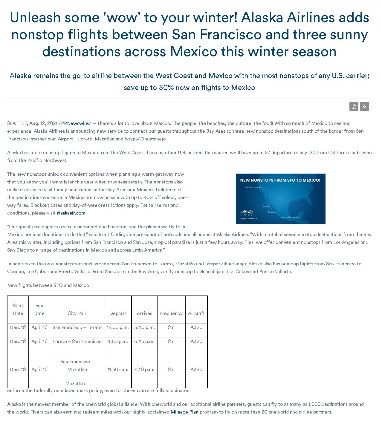 Additional Direct Flight from San Francisco to Mazatlán